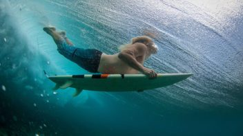 surfer under water